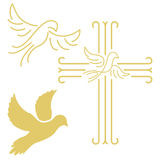 Christian cross with the dove in line style isolated on white ba. Ckground. Vector illustration Stock Photography