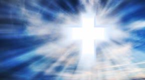 Christian Cross en el cielo Fotografía de archivo libre de regalías