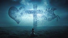 Christian cross exploding Stock Image