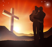Christian Cross Family Group. A Christian family with a cross in a mountain landscape and a sunrise over mountains landscape, Christian family life concept Royalty Free Stock Photography