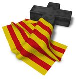 Christian cross and flag of catalonia Royalty Free Stock Photos