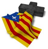 Christian cross and flag of catalonia Stock Images