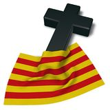 Christian cross and flag of catalonia Stock Photography