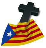 Christian cross and flag of catalonia Stock Image