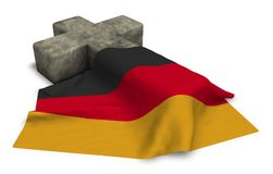 Christian cross and flag of germany. 3d rendering Royalty Free Stock Photo
