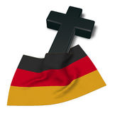 Christian cross and flag of germany. 3d rendering Royalty Free Stock Photos