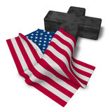 Christian cross and flag of the usa Royalty Free Stock Photography