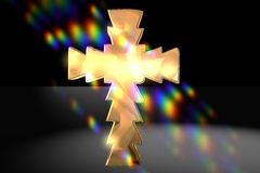 Christian cross and flare Stock Images