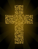 Christian Cross from a floral ornament with gold glitter Royalty Free Stock Image