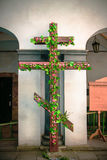 Christian cross with flowers Royalty Free Stock Photos