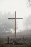 Christian cross. In the fog Stock Photo