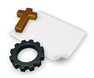 Christian cross and gear wheel - 3d rendering Royalty Free Stock Photo