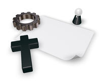 Christian cross and gear wheel - 3d rendering Stock Images