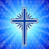 Christian cross glowing background Royalty Free Stock Photography