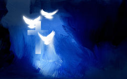 Christian cross with glowing doves graphic. Conceptual graphic illustration of Christian cross and three white doves, symbolizing Jesus Christ's sacrificial work Stock Image
