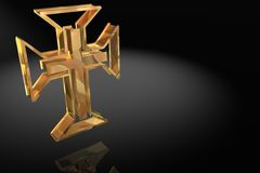 Christian Cross in Gold Royalty Free Stock Images