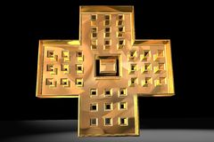 Christian Cross in Gold Royalty Free Stock Photos