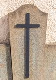 Christian cross on grave Royalty Free Stock Photography