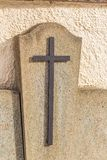Christian cross on grave Royalty Free Stock Photo