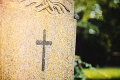 Christian cross grave. Royalty Free Stock Photography