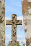 Christian Cross grave stone Royalty Free Stock Photo