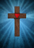 Christian cross with heart Royalty Free Stock Image
