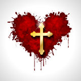 Christian cross in the heart Royalty Free Stock Photos