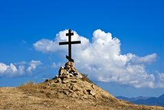 Christian cross on a hill Royalty Free Stock Image