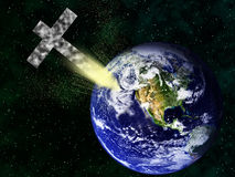 Christian cross hitting earth apocalypse concept Royalty Free Stock Image