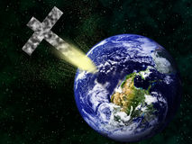 Christian cross hitting inverted earth apocalypse. A Christian cross of rocky texture collides with earth Stock Photo