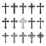 Christian Cross Icons Set no fundo branco Vetor ilustração do vetor
