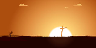 Christian Cross Inside desert Landscape Royalty Free Stock Image
