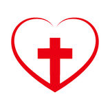 Christian cross inside in the heart. Vector illustration. Royalty Free Stock Images