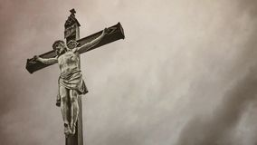 Christian cross with Jesus Christ crucified. stock video footage
