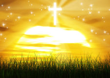 Christian Cross Jesus Christ Sun Ray Background Royaltyfri Bild