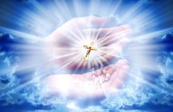 Christian cross with light stock illustration
