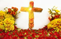 Christian Cross With Light Shining In Bright Colorful Easter Flower