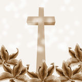 Christian cross and lily flower Royalty Free Stock Photography