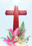 Christian cross and lily flower. Christian cross and beautiful lily flower on blue background Stock Photography