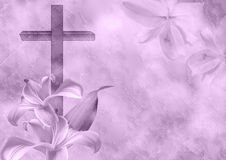 Christian cross and lily flower. On purple background Stock Photo