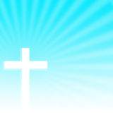 Christian Cross mit Strahln-Hintergrund stockbild