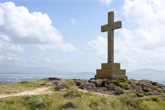 Christian Cross Monument. Overlooking the Irish sea, Llanddwyn Island, Anglesey, Wales royalty free stock images