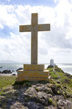 Christian Cross Monument. Overlooking the Irish sea, Llanddwyn Island, Anglsey, Wales royalty free stock photography