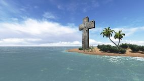 Christian cross monument at the ocean Royalty Free Stock Photo