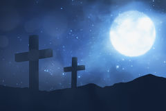 Christian cross with moon background Royalty Free Stock Photos