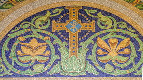 Christian cross Mosaic. Mosaic christian cross with the symbol Chi Rho, one of the earliest forms of christogram Stock Photo