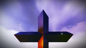 Christian Cross on a mountain stock video