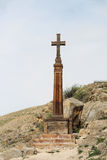 Christian cross near ancient monastery Khor Virap Stock Photos
