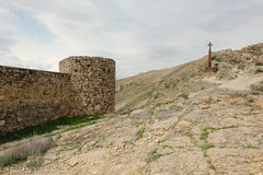 Christian cross near ancient monastery Khor Virap Stock Photography