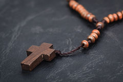 Christian cross necklace on Holy Bible book, Jesus religion conc Royalty Free Stock Photography